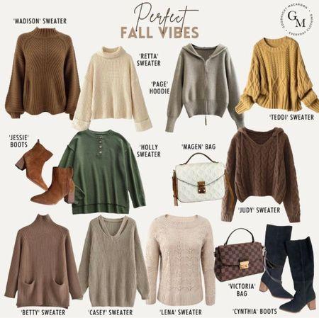 Fall outfits, fall clothing, sweaters, boots, cute sweaters, fall fashion, outfits for fall, fall boots, booties, handbags, cozy sweaters, #fall  #LTKshoecrush #LTKSeasonal #LTKunder100