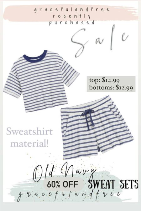 Major sale alert. Less than $30 sweatshort set from Old Navy. Blue & white striped soft material. Also comes in pink http://liketk.it/3iSJq #liketkit @liketoknow.it #LTKsalealert #LTKunder50 #LTKstyletip Shop your screenshot of this pic with the LIKEtoKNOW.it shopping app