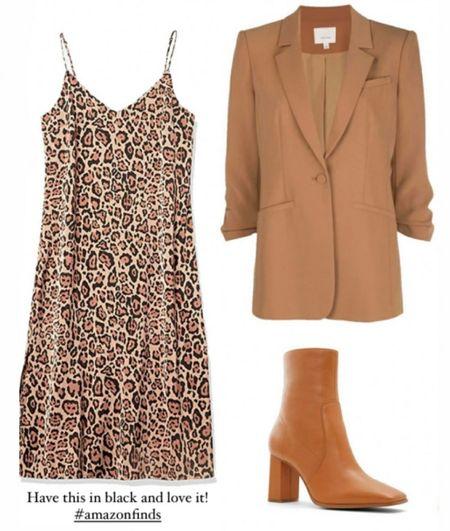 Amazon Neutral Fashion, Amazon Fall Neutrals, Tan Blazer, Animal Print Dress  #LTKSeasonal #LTKunder100 #LTKstyletip