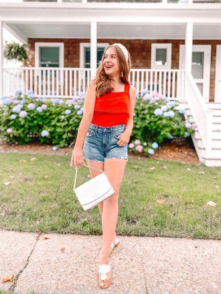 Summer outfit. Red tank top. Abercrombie shorts. Curve love shorts. Jack Rogers. Headband. White purse. Kate spade. Jack Rogers.   #LTKSeasonal #LTKsalealert #LTKunder50