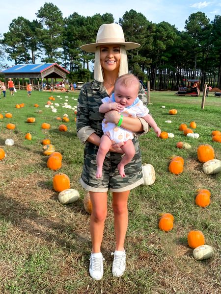 Camo romper, pumpkin patch outfit, casual cute style! Size: SM 10% off with KELSIE10    #LTKSeasonal #LTKfamily #LTKHoliday