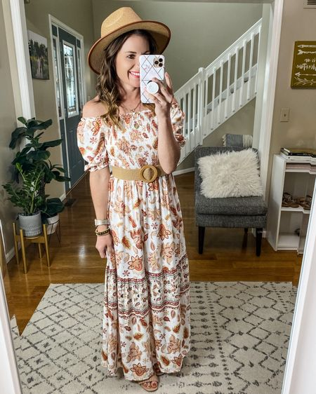 Maxi dress, summer style, Amazon finds, belt, sun hat, Target shoes, summer vibes, Vacay vibes.    Follow me on the LIKEtoKNOW.it shopping app to get the product details for this look and others http://liketk.it/3h4Yd   #liketkit @liketoknow.it #LTKunder50 #LTKshoecrush #LTKstyletip