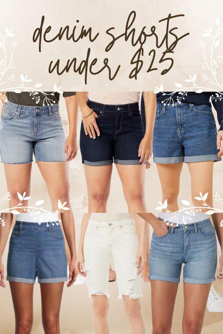 Walmart, denim, shorts, jeans, under $25, light wash, medium wash, dark wash, white, distressed, cuffed, dad short, boyfriend short, trend, affordable  #LTKunder100 #LTKstyletip #LTKunder50