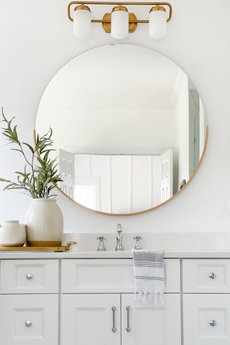 Master Bathroom Design Master Bathroom  Master Bathroom Decor Bathroom Decor White Bathroom Round Mirror Board and batten Target Crate and Barrell