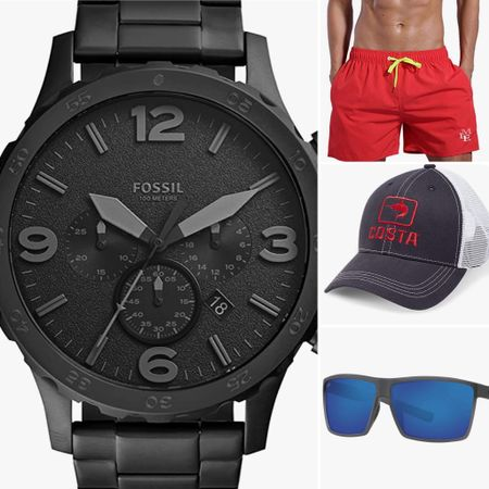 Father's Day gifts  Watch, hat, swim trunks, sunglasses etc   You can instantly shop all of my looks by following me on the LIKEtoKNOW.it shopping app http://liketk.it/3hPqj #liketkit @liketoknow.it #fathersday #mensgifts #fossilwatch #costahat #costasunglasses #truckerhat #swimtrunks #mensbathingsuit #summer2021 #mensummer
