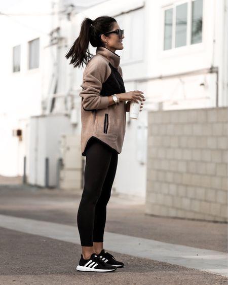 Everyday style, athleisure, fleece sweater, leggings, sneakers, StylinByAylin   #LTKfit #LTKunder50 #LTKstyletip
