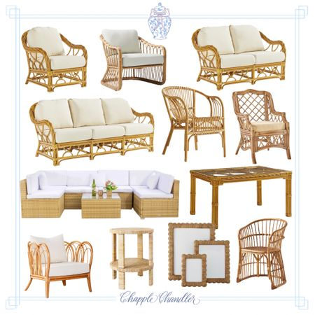 Rattan furniture, outdoor patio furniture set chairs sofa sectional lounge furniture patio decor dining chair table Serena and Lily Walmart Amazon one kings lane Target world market Anthropologie   #LTKhome #LTKSeasonal