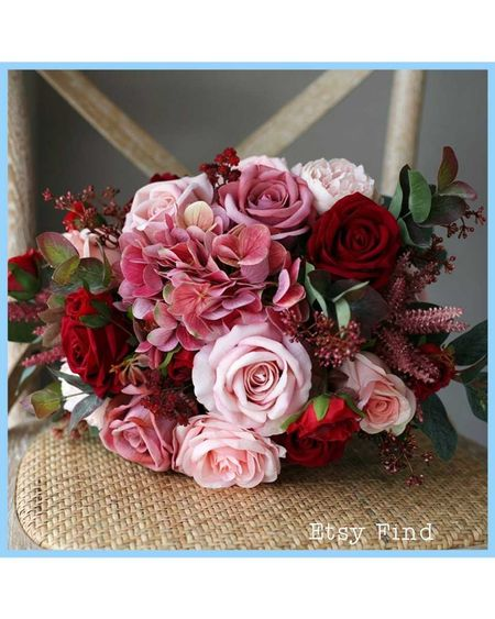 Mauve and red silk wedding bouquet. 💐👰💍  #summertrends   #LTKseasonal #LTKwedding #LTKstyletip  weddingdressesforbudgetbrides.com for more affordable wedding style.