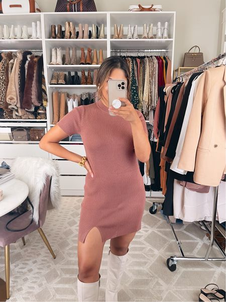 How cute is this sweater dress for fall? Comes in more colors & petite sizes! I'm wearing a size petite small. #abercrombie #sweaterdress #minidress #falloutfit  #LTKsalealert #LTKstyletip #LTKSale