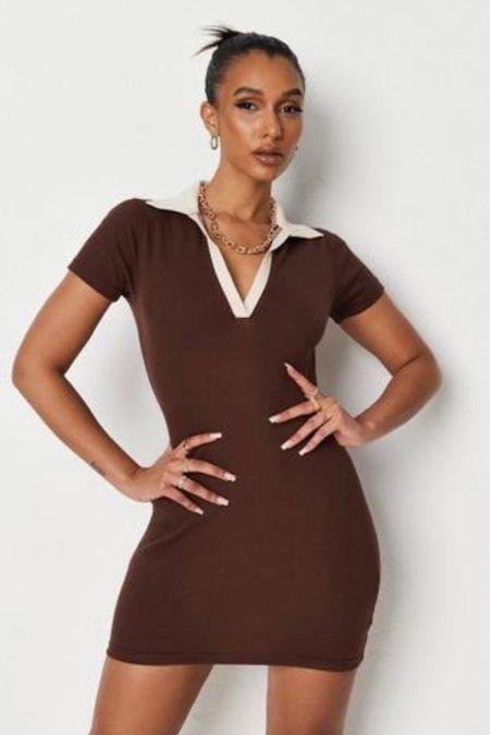 Fall Chocolate brown knit collared dress, fall color trend, collar trend  #LTKsalealert #LTKstyletip #LTKunder100