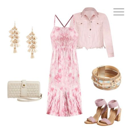 Pink Dress & Denim with gorgeous accessories. Pair with bangles, dangle earrings, and sandals.  http://liketk.it/3iXdx #liketkit @liketoknow.it #LTKunder100 #LTKunder50