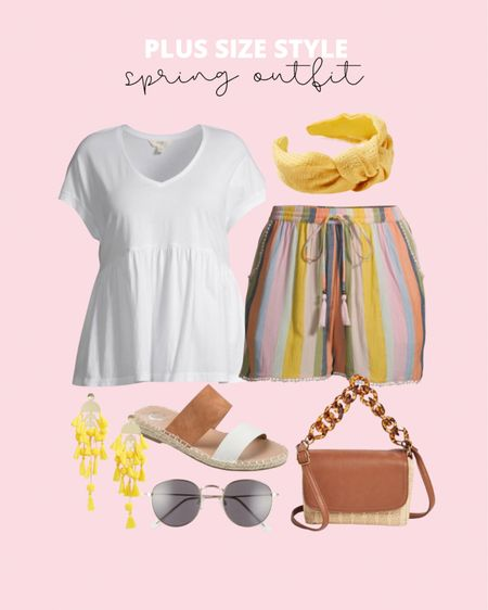 Plus size shorts in the cutest striped pattern! Add a plus size peplum tee and you have the perfect affordable plus size spring outfit!   #LTKcurves #LTKstyletip #LTKunder50