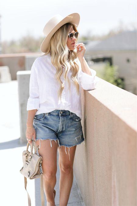 Summer to Fall transition look // white button down, denim shorts, felt hat and a balenciaga bag 🤍  #LTKstyletip #LTKitbag #LTKSeasonal