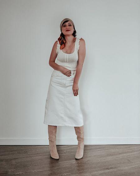 Styling a white denim midi skirt for spring.   #denimmidiskirt #denimskirt #midiskirt #liketkit   @liketoknow.it http://liketk.it/3cV7B