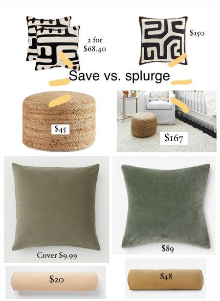 Save vs. splurge on home decor favorites #velvetpillow #luxelook #velvetbolster #jutepouf  #LTKhome #LTKunder50 #LTKstyletip
