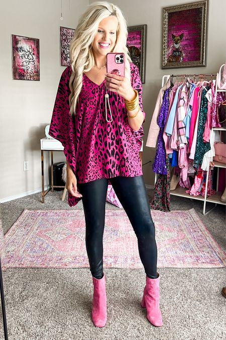 Spanx faux leather leggings  Buddy love pink leopard print top size M - comes in tons of prints!  Pink booties TTS  Gold bracelet stack  Could wear top to work with a blazer and slacks or out with friends, paired with a skirt & booties!   #LTKshoecrush #LTKworkwear #LTKunder100
