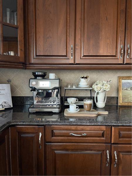 Moody, timeless kitchen ✨  Breville espresso machine, tray, mugs, flowers, coffee station, coffee machine, coffee   #LTKCyberweek #LTKHoliday #LTKhome