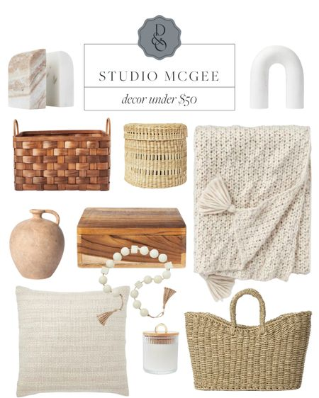 Studio McGee decor items from Target all under $50! Marble bookends, decorative basket, chunky throw, decor pieces and more #studiomcgee #targethome  #LTKunder50 #LTKunder100 #LTKhome