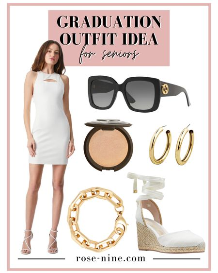 Graduation Outfit idea for both high school seniors and college seniors. A white bodycon dress with a super cute cut out (I am actually wearing this exact dress for my graduation)! Gucci sunglasses or your fave stylish sunnies to block out the rays on your big day. Gold jewelry: hoops, bracelets and rings. White wedges that are stylish and comfortable and easy to walk on grass in. #LTKstyletip #LTKshoecrush #LTKunder100 #liketkit @liketoknow.it http://liketk.it/3fuE2