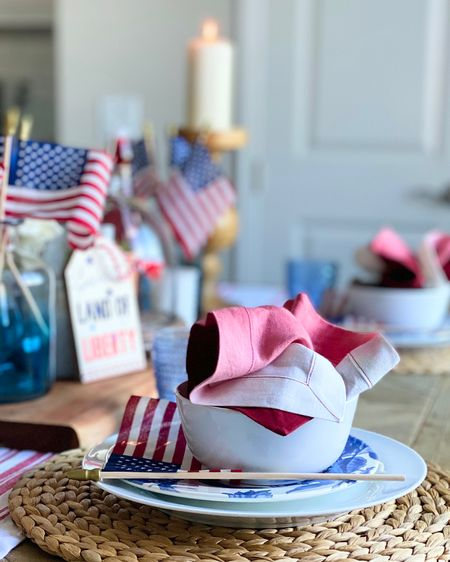 4th of July tablescape.    Red White & Blue.  Stars & Stripes.  Land of Liberty.  Patriotic Tablescape.  Table Setting.  Dining Table Decor.   #liketkit #LTKunder50 #LTKhome @liketoknow.it @liketoknow.it.home http://liketk.it/3iIh8