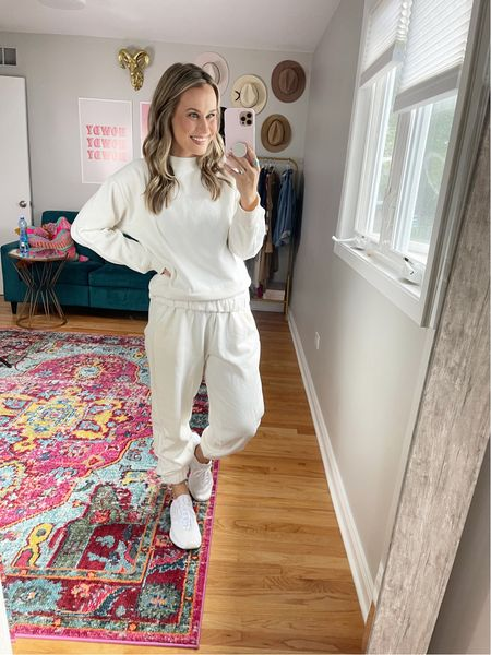 a matching neutral set is a must for fall, a perfect lounge outfit! These matching set are both Target finds and my white sneakers are the most comfy!  #LTKshoecrush #LTKsalealert #LTKfit