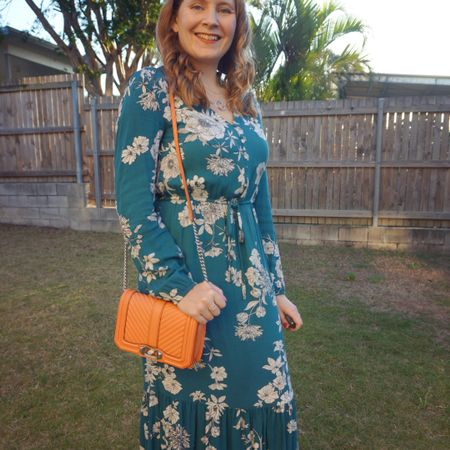 Dressed up for a rare night out a few weeks ago in this pretty teal floral Kmart midi dress 💚 Tried the peach bag for something a little different and I really liked the orange with the teal! The cute mini bag was all I needed for the night as I got to be child free! Good food and good company! Thanks @social_mums_bayside 💕  ----------------- -------------------- ------------------------- ------------------- ----------------------  Screenshot this pic to shop the product details from the @liketoknow.it app, or click here: http://liketk.it/3nHUq #liketkit #LTKaustralia #LTKitbag #RebeccaMinkoff #RebeccaMinkoffLove #myRM #everythingLooksBetterWithABag #everydaystyle #realeverydaystyle #wearedonthestreet #realmumstyle #nevervainalwayscolour #mumlife