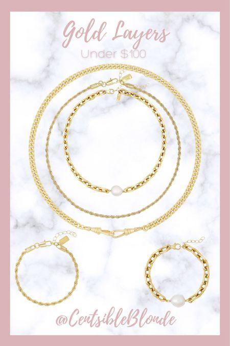 Electric picks jewelry Gold layering necklaces and bracelets  Gold jewelry     #LTKstyletip #LTKunder100 #LTKworkwear