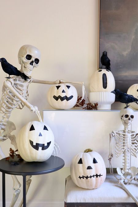 Get your DIY spirit on and paint these Jack O Lanterns! Everything you need for this fun/spooky vignette for Halloween at #WalMart Home #ad  #LTKHoliday #LTKstyletip #LTKhome