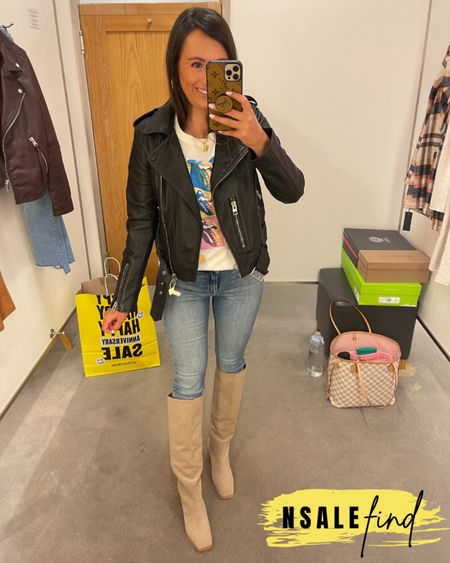 Nordstrom anniversary sale outfit - frame jeans true to size and have stretch. Tee I sized up to a small because there were no XS left but it totally works. Moto jacket runs small! I am wearing a 6. I am normally a 0! Boots are true to size but you probably need to size up if you have a wider foot. I have a narrow foot.  #nordstromanniversarysale #nordstrom #nordstromanniversarysale2021 #nsale #nsale2021 #anniversarysale #nordstromsale Nordstrom anniversary sale Nordstrom anniversary sale 2021 nsale nsale2021        #LTKunder100 #LTKsalealert #LTKshoecrush