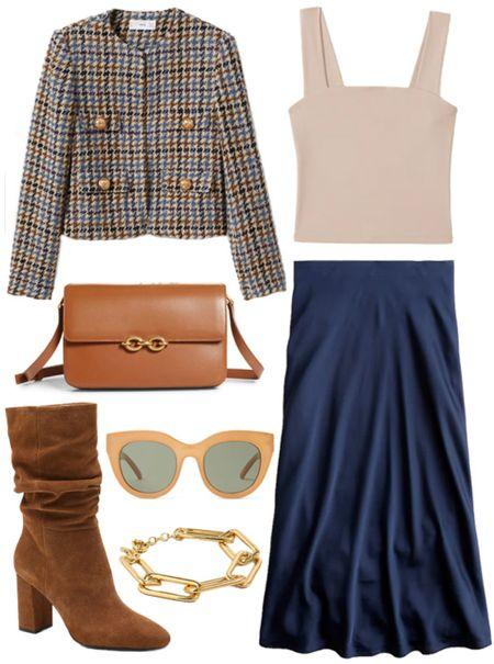 Fall outfit inspiration  . . . Fall blazer, houndstooth blazer, plaid blazer, fall outfit, fall style, cognac purse, cognac handbag, brown purse, crossbody bag, fall boots, suede boots, satin skirt, midi skirt, navy skirt   #LTKSeasonal #LTKunder100 #LTKstyletip