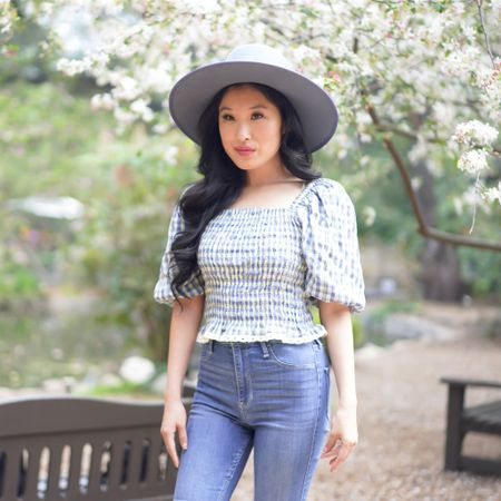 Spring gingham blue and Anthropologie boater hat - blue boater hat - blue hat!