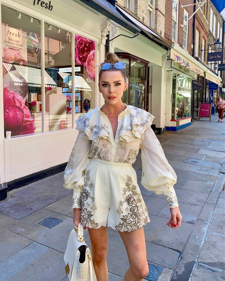 Embroidered frill playsuit co it's blouse