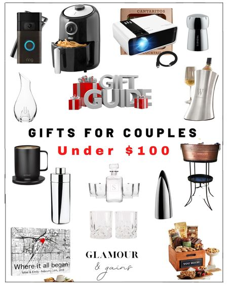 Holiday gift guide for couples under $100. What to buy parents, couples, grandparents, etc. home gifts for the kitchen, bar & home decor: elegant glassware, fun bar & wine accessories, custom pictures & custom wine buckets that would also make great wedding gifts.  #LTKunder100 #LTKGiftGuide #LTKhome