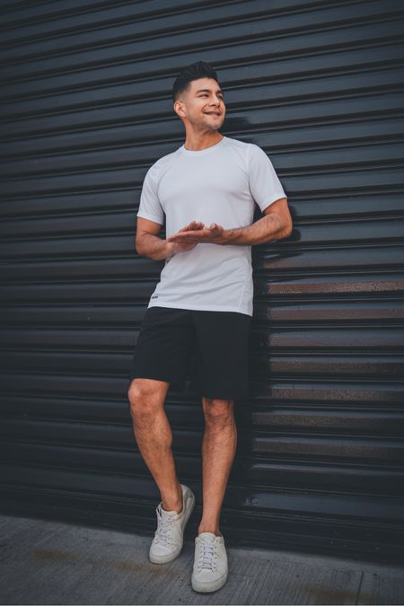 """Casual menswear streetwear - white T-shirt , black shorts and white sneakers. I'm 5' 7"""" , 150 lbs wearing small.   #LTKfit #LTKmens"""