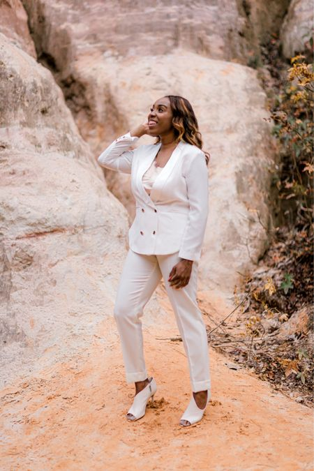 I felt so confident celebrating 35 in this suit! The jacket adds shape to or enhances for rectangular, pear, hour glass and apple shaped!   The pants are ideal for rectangular and pear shapes!   #LTKstyletip #LTKunder100 #LTKfit