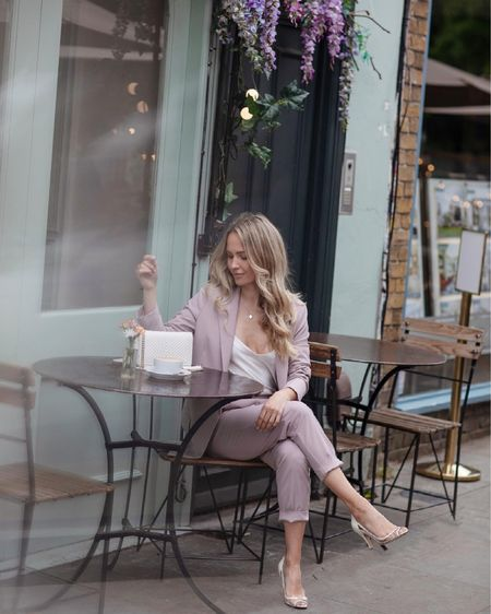 I'm 5'5 and I'm wearing a U.K. size 6 in the dusty pink blazer and trousers.   My bag is the white chevron caviar Chanel wallet on chain with light gold details ❤️    #LTKSeasonal #LTKeurope #LTKstyletip