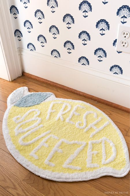 Love this cute lemon mat! Use in front of your sink in the kitchen, as a bathroom mat by the tub, or as a doormat. (home decor ideas, Walmart finds)  #LTKSeasonal #LTKunder50 #LTKhome