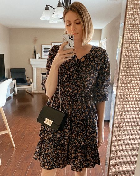 Valentine's Day outfit idea, featuring a small crossbody bag and a black and brown ruffle dress.   http://liketk.it/35YwL #liketkit @liketoknow.it #LTKunder100 #LTKitbag #LTKVDay