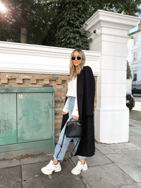 Wool coat, straight jeans, chunky trainers, knitwear