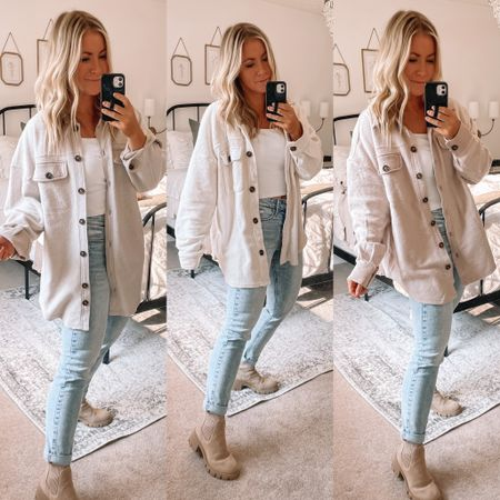 The only shacket you need! Such a good dupe for the Free People Ruby jacket and half the price! So many good neutral options to wear with everything!   #LTKunder50 #LTKsalealert #LTKstyletip