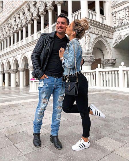 His & hers outfit  Men's black leather jacket Men's distressed jeans Men's biker boots   http://liketk.it/2yFDI #liketkit @liketoknow.it #LTKunder100 #LTKshoecrush #LTKwedding #LTKunder50 #LTKsalealert #LTKstyletip #LTKmens #LTKholidaygiftguide #LTKholidaywishlist #LTKholidayathome #LTKholidaystyle