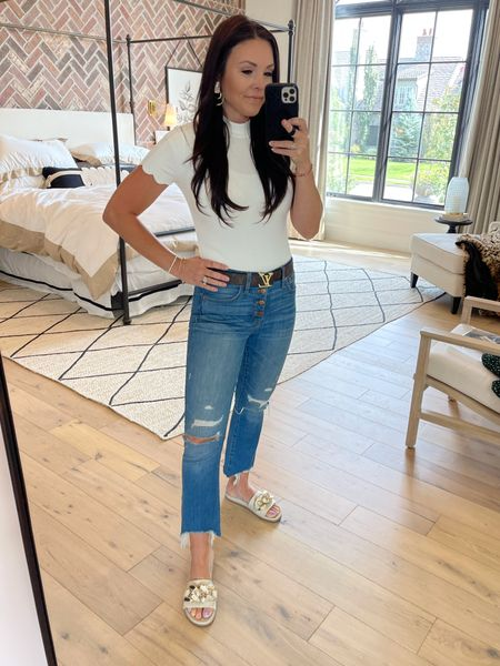 Classic scallop sleeve white t-shirt - I have in many colors   Fav Demi boot cut jeans   Designer belt & designer inspired belt   Officially my fav slides - own in bone and black - gold chain detail.   Bedroom sources linked  Amazon finds  Amazon fashion    #LTKshoecrush #LTKunder100
