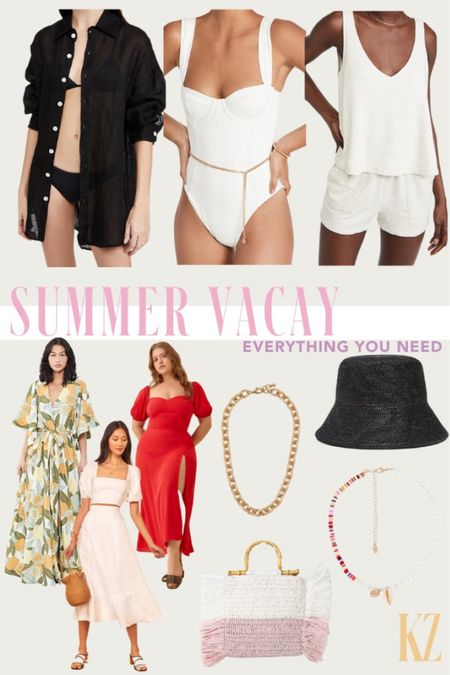 Summer Vacay - Everything You Need! Beach outfit, resort outfit, Womens swimwear, swim coverup, summer jewelry, summer shoes, summer accessories - what's trending for summer.   #LTKshoecrush #LTKswim #LTKtravel