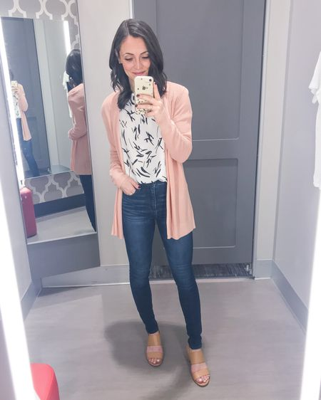 Pretty in pink! 💗 I just adore this lightweight pink cardigan for spring! Such a fun pop and goes perfectly with this black & white short sleeve blouse and my go-to Abercrombie high rise skinny jeans. These nude heels are such a staple too and come in cognac and black.   Top: XS Cardigan: XS Jeans: 24/00 short Heels: 6   http://liketk.it/2L2qk #liketkit @liketoknow.it #LTKshoecrush #LTKspring #LTKstyletip
