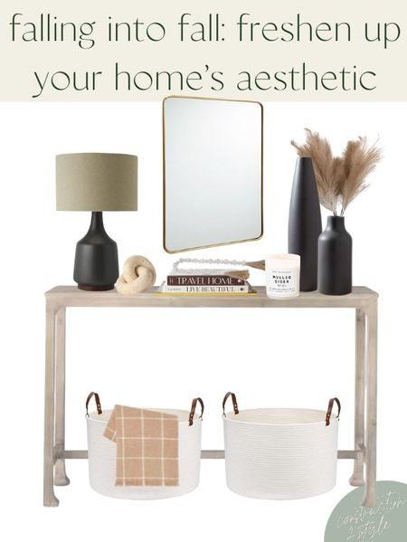 Easy ways to transition your home to fall | add items with color, like a throw blanket or dark vases | bring in wood elements | add fall foliage | bring in fall scents with a candle.   #LTKSeasonal #LTKhome