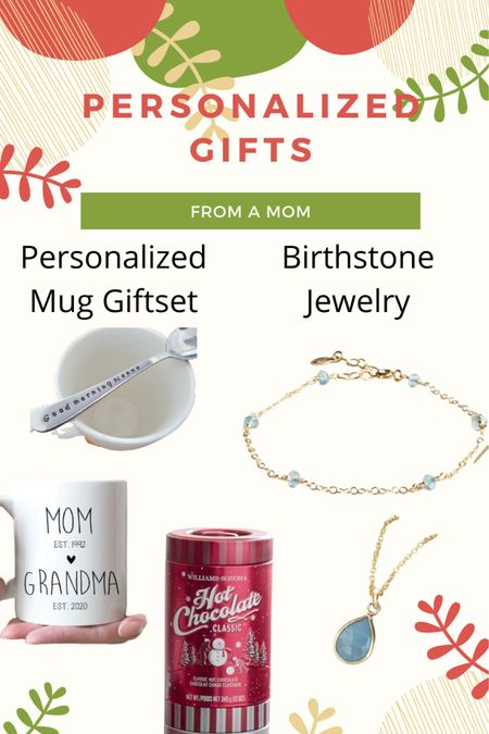 Personalized gifts for the grandma, aunt, godmother or special someone in your child's life! My favorite is getting jewelry of your child's birthstone!  Best hot chocolate EVER is also linked, including some gift sets that would be so fun to pair with a mug! But I've gifted them on my own before, they're THAT good ☺️  http://liketk.it/31Mo4 #liketkit @liketoknow.it #LTKgiftspo #LTKfamily #LTKunder50