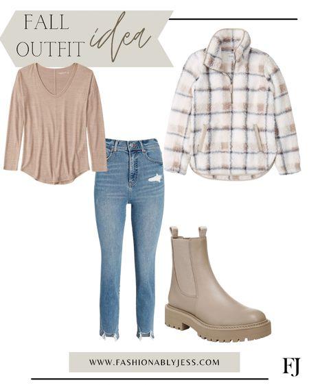 Fall outfit, fall look, denim, combat boots, fleece jacket   #LTKstyletip #LTKtravel #LTKunder100