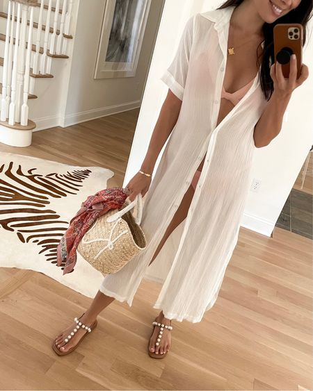 Poolside style. White shirt dress with a pink bikini and straw tote tied with a vintage scarf. http://liketk.it/3hgfM #liketkit @liketoknow.it #LTKswim #LTKstyletip #LTKshoecrush #pearlsandals #hermes