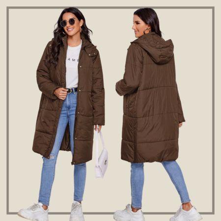 Buttoned zip up hoodie long coat  #LTKunder50 #LTKstyletip