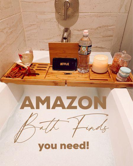 Amazon bath finds, Amazon home finds, bath tray, bubble bath, wine, snacks http://liketk.it/3k2Q0 #liketkit @liketoknow.it #LTKunder50 #LTKbeauty #LTKsalealert